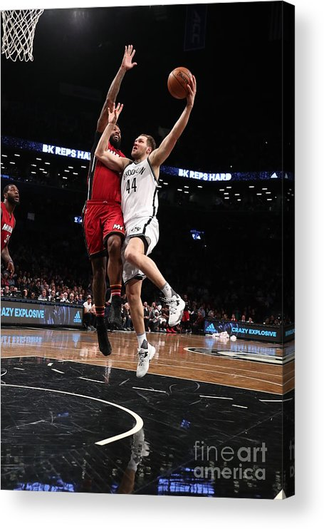 Nba Pro Basketball Acrylic Print featuring the photograph Miami Heat V Brooklyn Nets by Nathaniel S. Butler