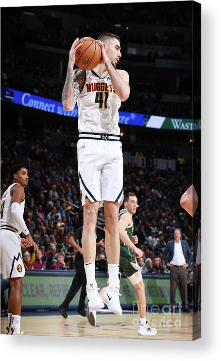 Nba Pro Basketball Acrylic Print featuring the photograph Milwaukee Bucks V Denver Nuggets by Garrett Ellwood