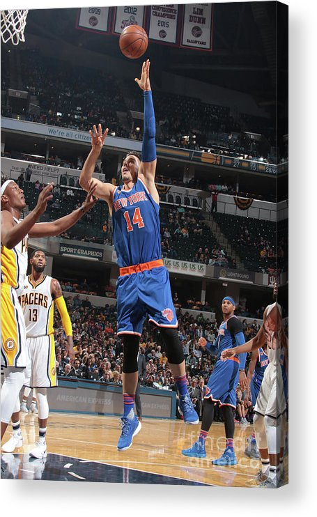 Guillermo Hernangómez Geuer Acrylic Print featuring the photograph New York Knicks V Indiana Pacers by Ron Hoskins