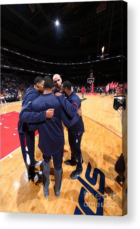 Nba Pro Basketball Acrylic Print featuring the photograph New York Knicks V Washington Wizards by Ned Dishman