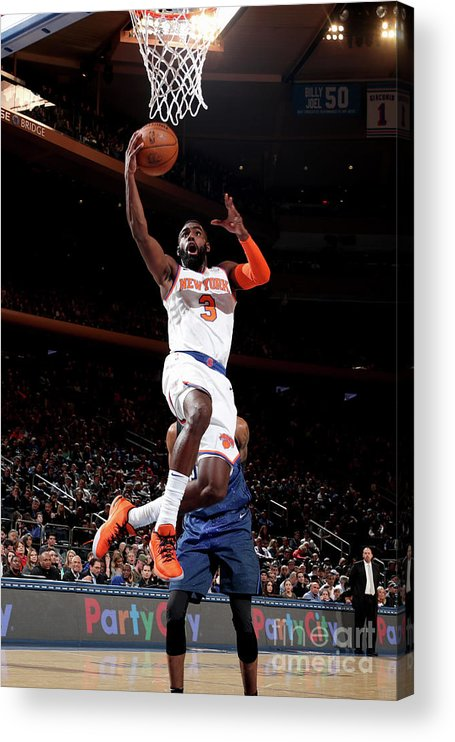 Tim Hardaway Jr. Acrylic Print featuring the photograph Orlando Magic V New York Knicks by Nathaniel S. Butler