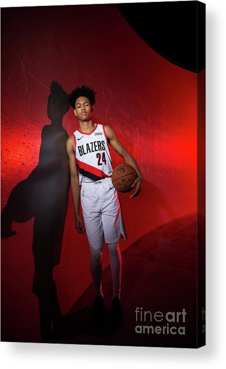 Media Day Acrylic Print featuring the photograph 2018-2019 Portland Trail Blazers Media by Sam Forencich