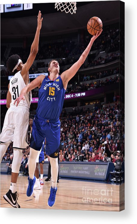 Nba Pro Basketball Acrylic Print featuring the photograph Brooklyn Nets V Denver Nuggets by Garrett Ellwood