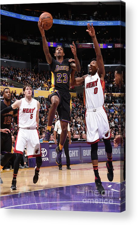 Nba Pro Basketball Acrylic Print featuring the photograph Miami Heat V Los Angeles Lakers by Andrew D. Bernstein