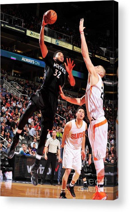 Nba Pro Basketball Acrylic Print featuring the photograph Minnesota Timberwolves V Phoenix Suns by Barry Gossage