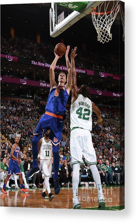Nba Pro Basketball Acrylic Print featuring the photograph New York Knicks V Boston Celtics by Brian Babineau