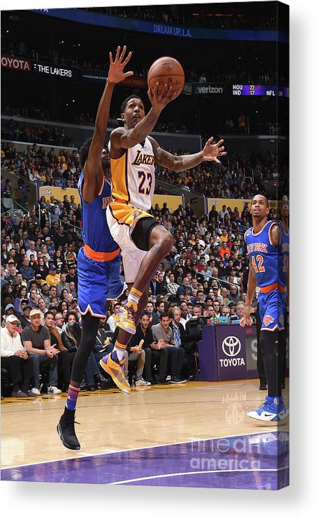 Nba Pro Basketball Acrylic Print featuring the photograph New York Knicks V Los Angeles Lakers by Andrew D. Bernstein