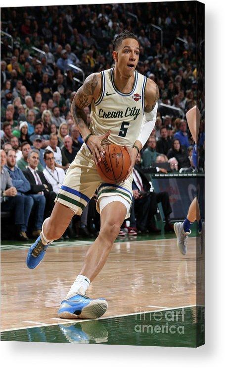 Nba Pro Basketball Acrylic Print featuring the photograph New York Knicks V Milwaukee Bucks by Gary Dineen