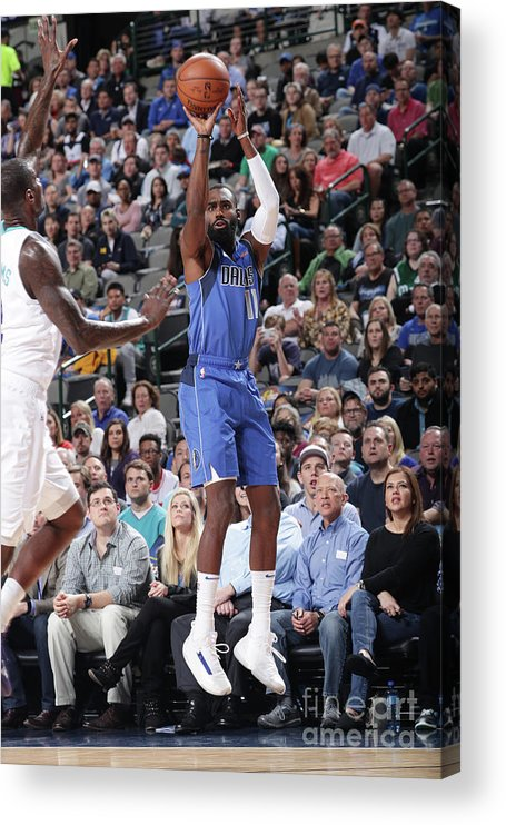 Tim Hardaway Jr. Acrylic Print featuring the photograph Charlotte Hornets V Dallas Mavericks by Glenn James