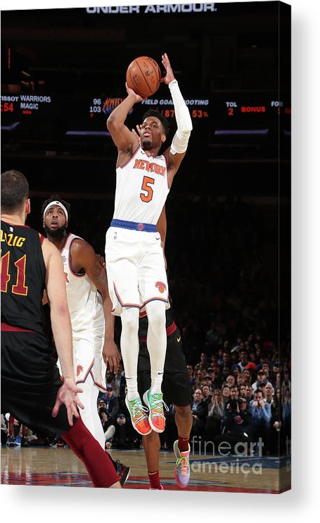 Nba Pro Basketball Acrylic Print featuring the photograph Cleveland Cavaliers V New York Knicks by Nathaniel S. Butler