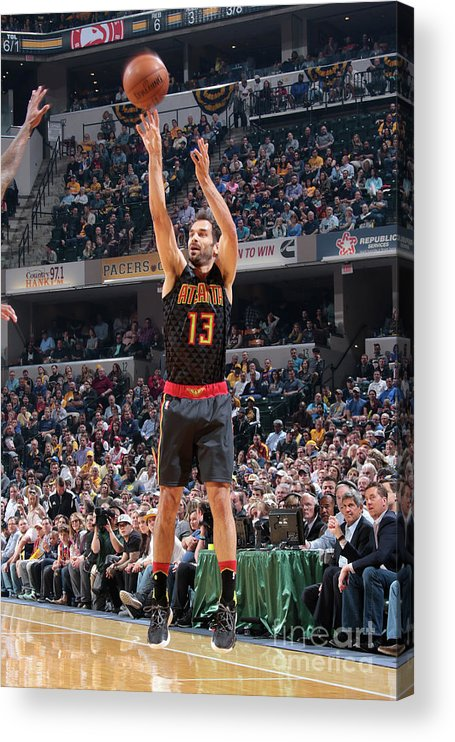 Nba Pro Basketball Acrylic Print featuring the photograph Atlanta Hawks V Indiana Pacers by Ron Hoskins