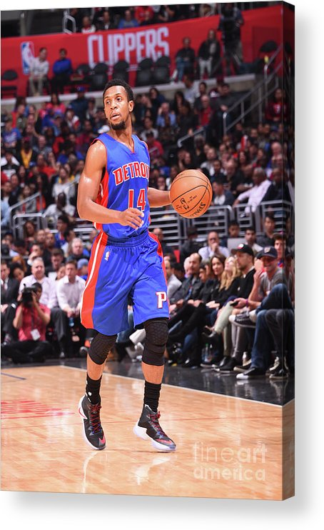 Nba Pro Basketball Acrylic Print featuring the photograph Detroit Pistons V La Clippers by Juan Ocampo