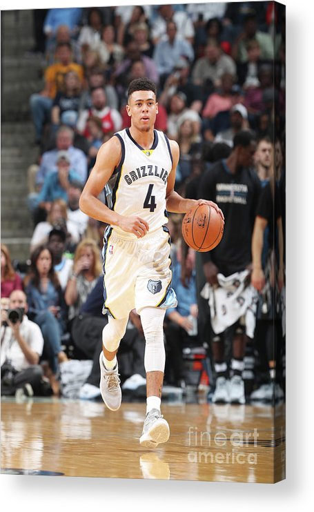 Nba Pro Basketball Acrylic Print featuring the photograph Minnesota Timberwolves V Memphis by Joe Murphy