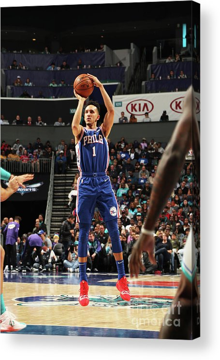 Nba Pro Basketball Acrylic Print featuring the photograph Philadelphia 76ers V Charlotte Hornets by Kent Smith