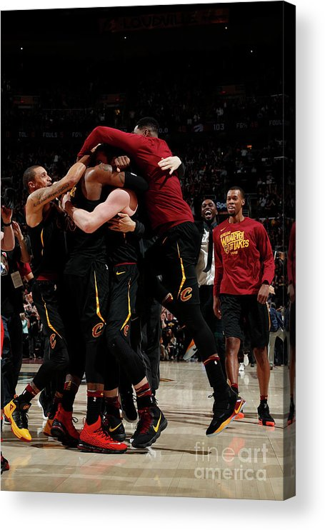 Playoffs Acrylic Print featuring the photograph Toronto Raptors V Cleveland Cavaliers - by Jeff Haynes