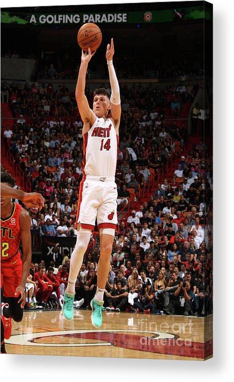 Tyler Herro Acrylic Print featuring the photograph Atlanta Hawks V Miami Heat by Oscar Baldizon