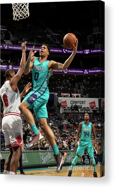 Nba Pro Basketball Acrylic Print featuring the photograph Chicago Bulls V Charlotte Hornets by Kent Smith