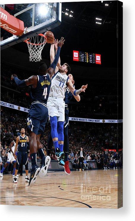 Nba Pro Basketball Acrylic Print featuring the photograph Dallas Mavericks V Denver Nuggets by Garrett Ellwood