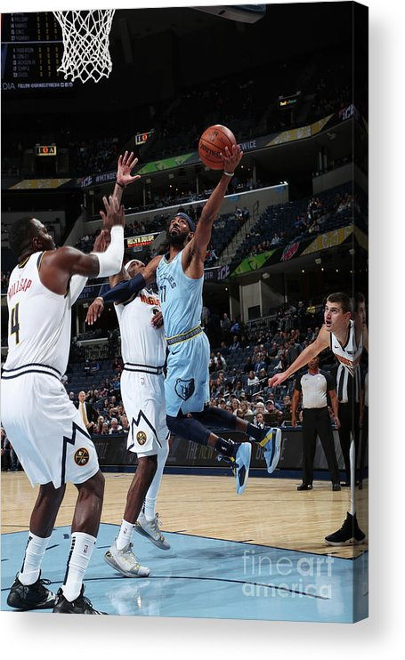 Nba Pro Basketball Acrylic Print featuring the photograph Denver Nuggets V Memphis Grizzlies by Joe Murphy
