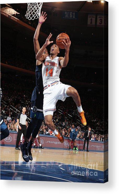 Nba Pro Basketball Acrylic Print featuring the photograph Minnesota Timberwolves V New York Knicks by Nathaniel S. Butler