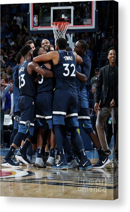 Nba Pro Basketball Acrylic Print featuring the photograph Minnesota Timberwolves V Oklahoma City by Layne Murdoch