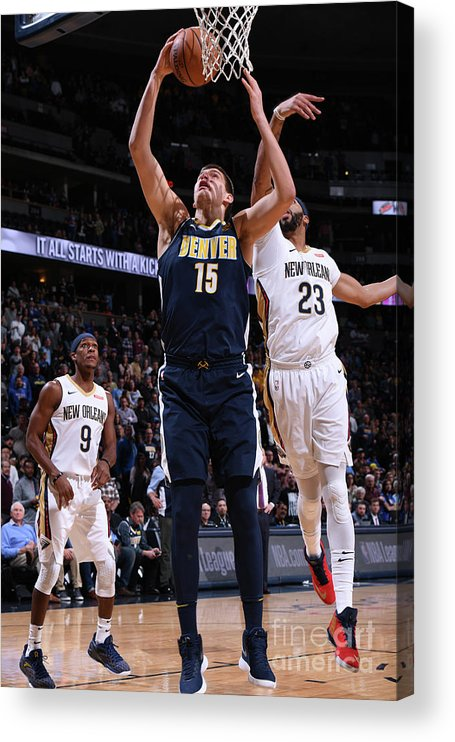 Nba Pro Basketball Acrylic Print featuring the photograph New Orleans Pelicans V Denver Nuggets by Garrett Ellwood