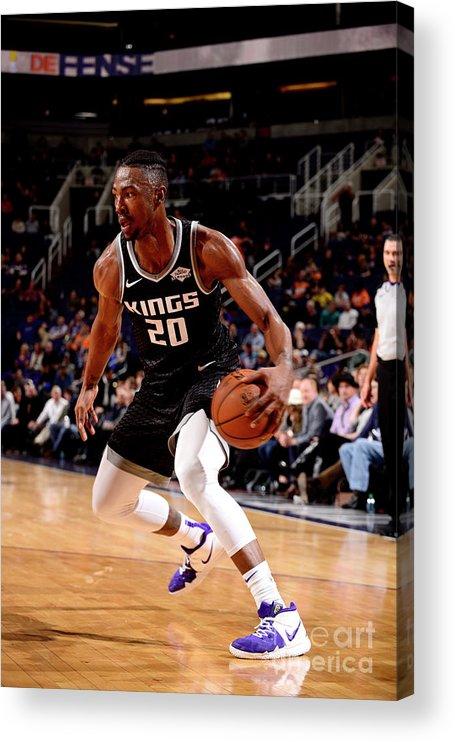 Nba Pro Basketball Acrylic Print featuring the photograph Sacramento Kings V Phoenix Suns by Barry Gossage