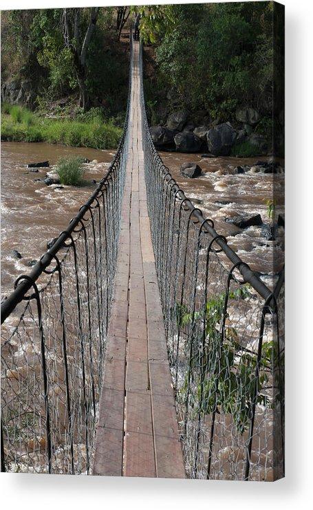 Long Acrylic Print featuring the photograph A Long Suspension Bridge Over A River by Diane Levit / Design Pics