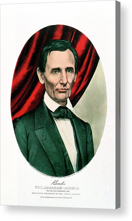 1865 Acrylic Print featuring the drawing Abraham Lincoln 1809-65, C1865. Artist by Print Collector