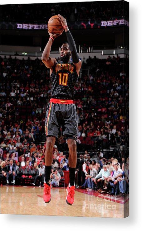 Tim Hardaway Jr. Acrylic Print featuring the photograph Atlanta Hawks V Houston Rockets by Bill Baptist