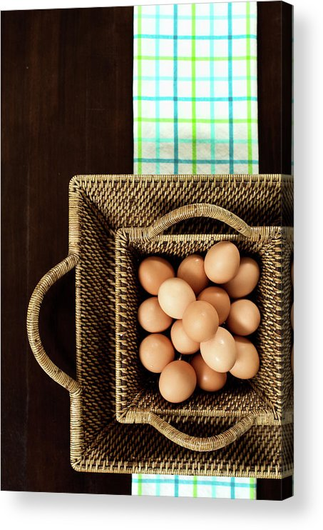 Large Group Of Objects Acrylic Print featuring the photograph Basket Of Brown Eggs by Joey Celis