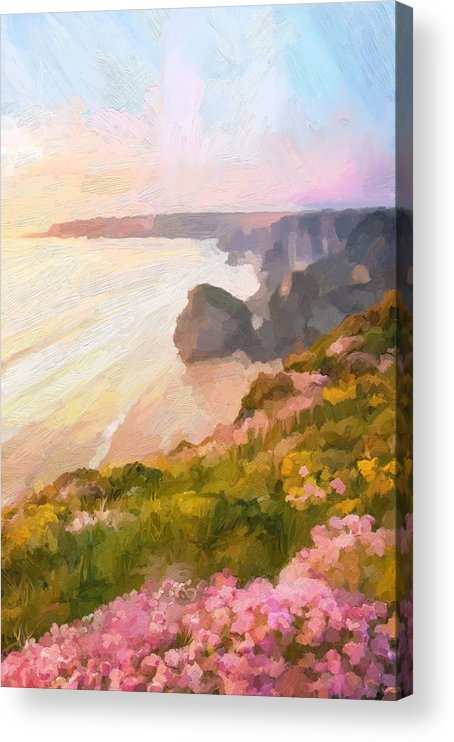 Bedruthan Steps Acrylic Print featuring the digital art Bedruthan Steps by Scott Waters