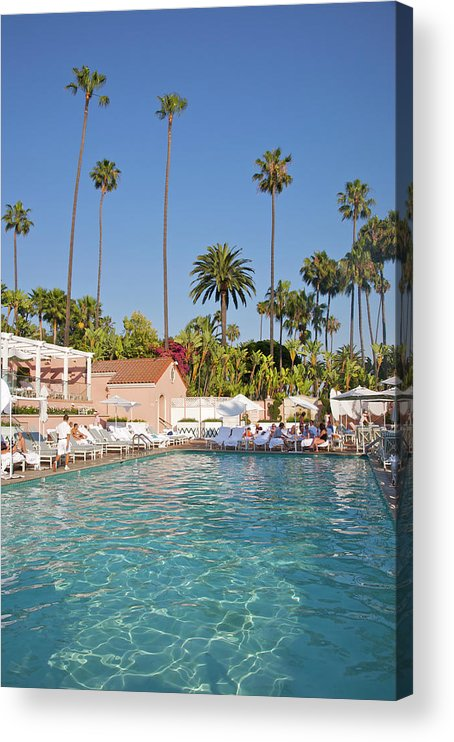 Tranquility Acrylic Print featuring the photograph Blue-bottomed Pool Beneath Palm Trees by Barry Winiker