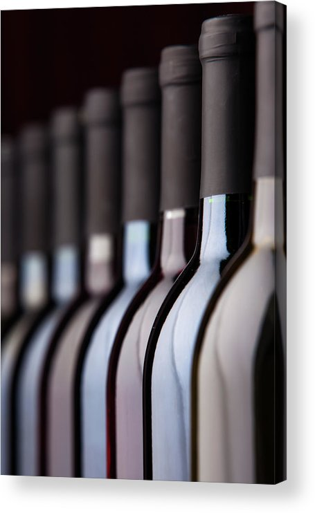 Alcohol Acrylic Print featuring the photograph Bottles Of Wine In A Row by Halbergman