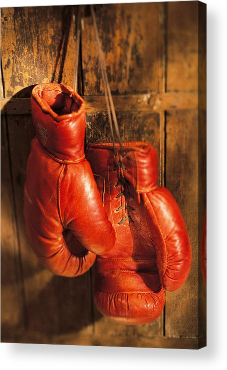 Hanging Acrylic Print featuring the photograph Boxing Gloves Hanging On Rustic Wooden by Comstock