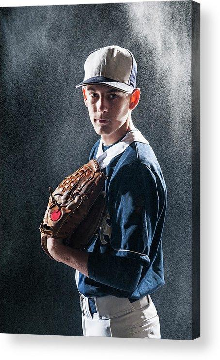 Baseball Cap Acrylic Print featuring the photograph Caucasian Baseball Player Standing by Erik Isakson