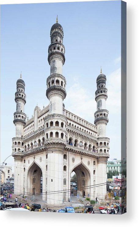 Arch Acrylic Print featuring the photograph Charminar Monument In Hyderabad by Jasper James