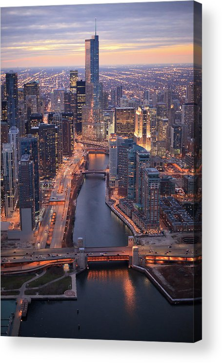 Tranquility Acrylic Print featuring the photograph Chicago Downtown - Aerial View by Berthold Trenkel