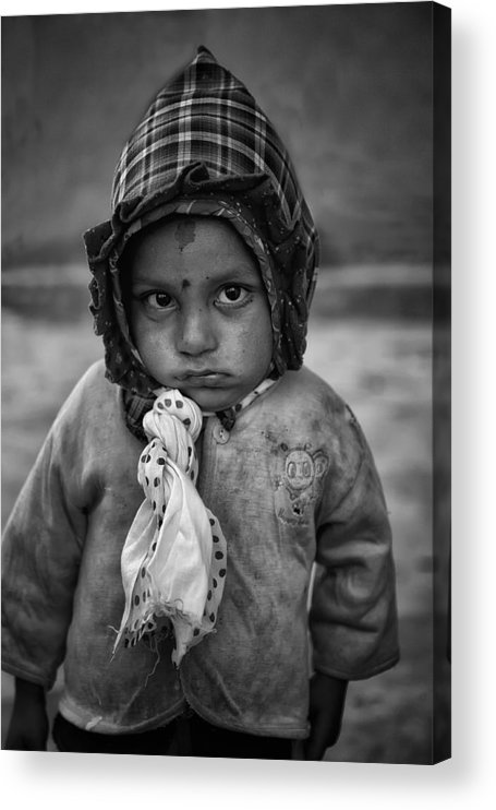 Nepal Acrylic Print featuring the photograph Children Of Nepal - Monochrome Portraits by Yvette Depaepe