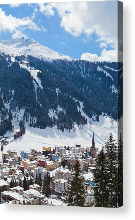 Snow Acrylic Print featuring the photograph Cityscape Of Davos, Grisons, Switzerland by Werner Dieterich