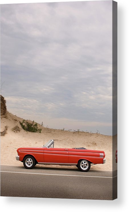 Sports Car Acrylic Print featuring the photograph Classic Red Convertible In The Desert - by Bradwieland