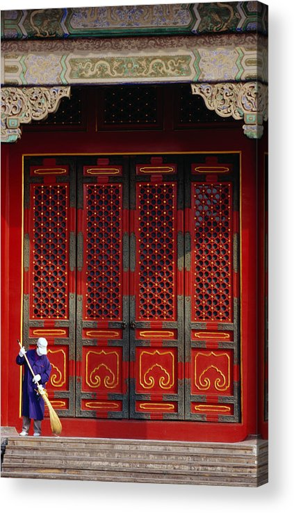 Working Acrylic Print featuring the photograph Cleaner Sweeps Steps Inside The by Lonely Planet