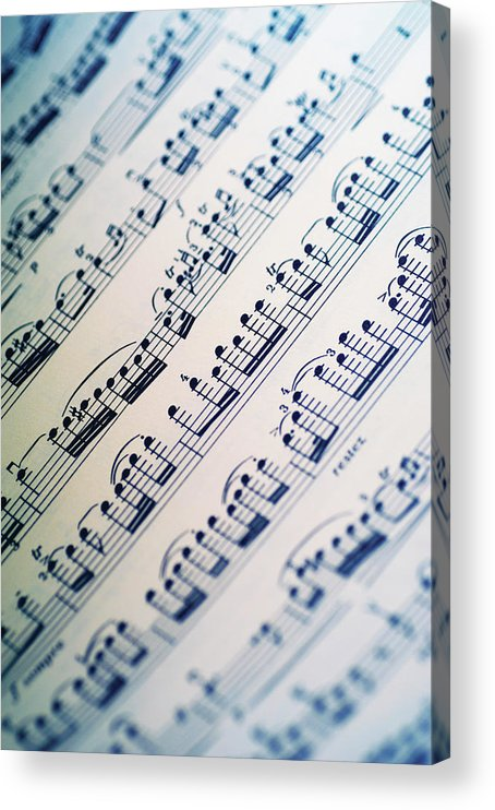 Sheet Music Acrylic Print featuring the photograph Close-up Of Sheet Music by Medioimages/photodisc