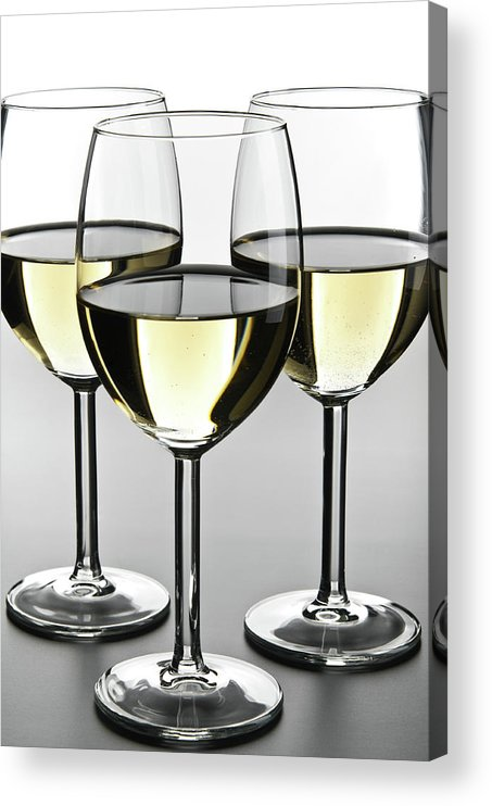 Alcohol Acrylic Print featuring the photograph Close-up Of Three White Wine Glasses by Domin domin