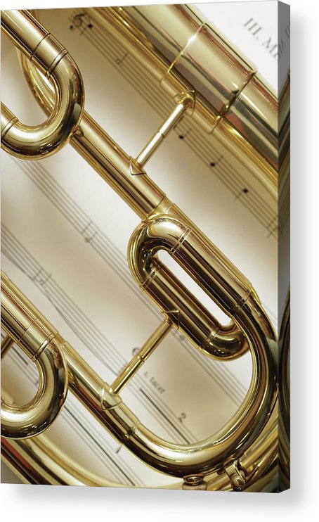 Sheet Music Acrylic Print featuring the photograph Close-up Of Trumpet by Medioimages/photodisc