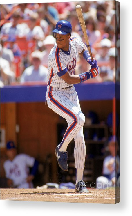 People Acrylic Print featuring the photograph Darryl Strawberry Swings by Scott Halleran
