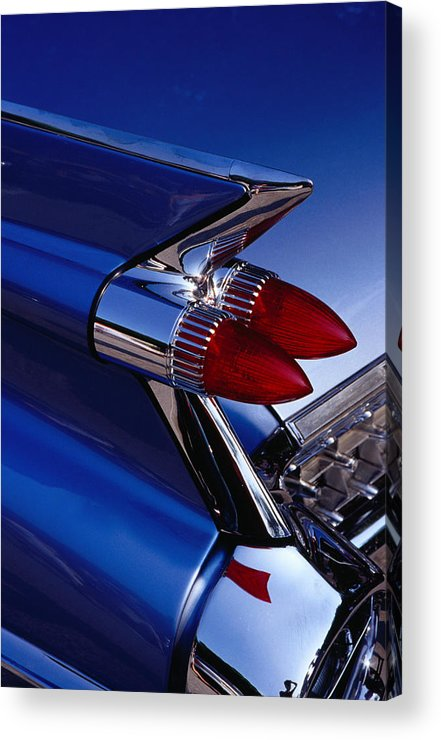 Silver Colored Acrylic Print featuring the photograph Detail Of An American Cadillac, Eze by Richard I'anson
