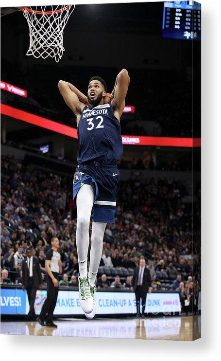 Nba Pro Basketball Acrylic Print featuring the photograph Detroit Pistons V Minnesota Timberwolves by Jordan Johnson