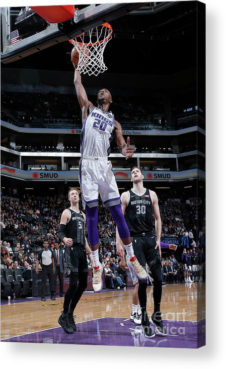 Nba Pro Basketball Acrylic Print featuring the photograph Detroit Pistons V Sacramento Kings by Rocky Widner