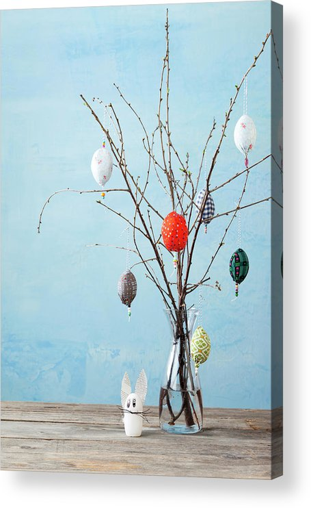 Holiday Acrylic Print featuring the photograph Egg-shaped Decorations On Branches by Stefanie Grewel